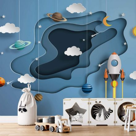Children's room wallpaper Space Papercut 3D